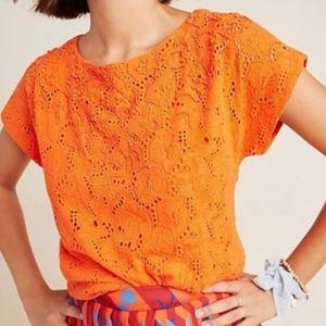 Anthro Maeve Karine orange beaded blouse size 12